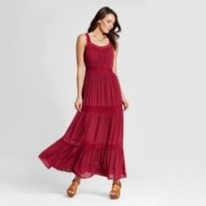 Knox Rose Boho Maxi Dress Sz XL Maroon